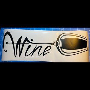 Wine Glass Black Vinyl Wall Decal New